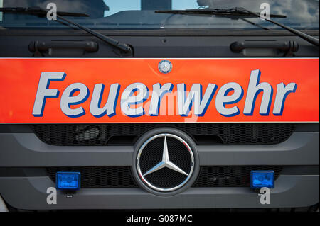 Front view of a fire-vehicle - Stock Photo