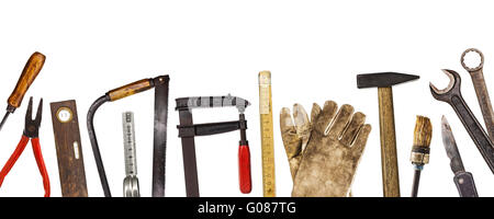 Old Craftsman tools isolated on white - Stock Photo