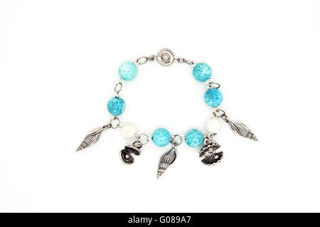 Bracelet on a white background. Ocean. - Stock Photo