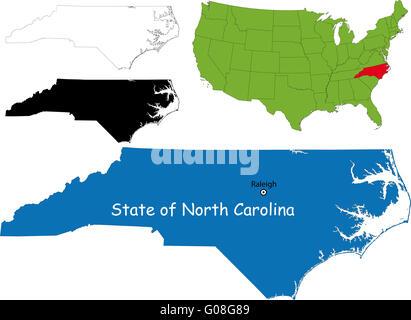 Map Of The U S State North Carolina North Carolina Map Stock Photo
