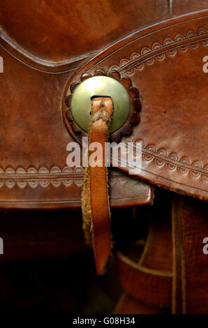 Detail Of Decoration On A Western Horse Saddle - Stock Photo