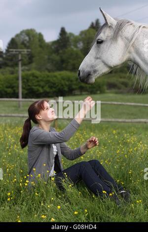 girl with connemarapony - Stock Photo