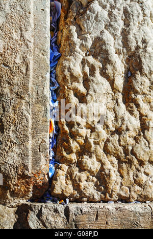 Rocks of the Wailing wall close up in Jerusalem - Stock Photo