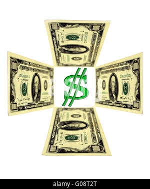 four dollar banknotes in shape of cross isolated - Stock Photo