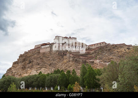 View of the famous fort in Gyantse, Tibet, China - Stock Photo