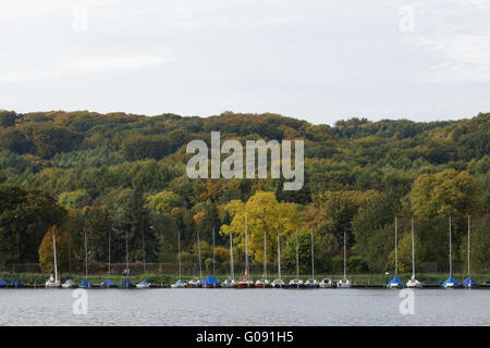 Autumnally atmosphere , Baldeneysee, Essen, German - Stock Photo