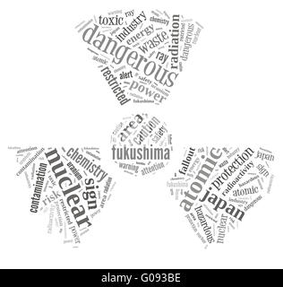nuclear contamination warning sign word cloud on f - Stock Photo