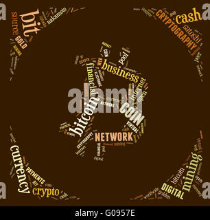 bitcoin logo word cloud with brown wordings - Stock Photo