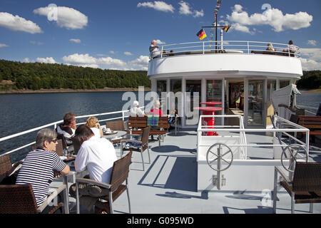 On the excursion ship Westphalia on the Bigge. - Stock Photo