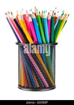 Various color pencils set  in black container - Stock Photo