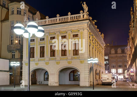 Trade Exchange in Leipzig at night. - Stock Photo