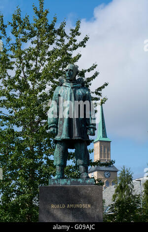 Norway, Tromso. Statue of famous polar explorer Roald Amundsen. - Stock Photo