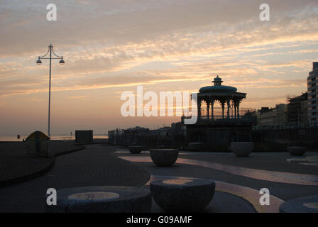 Brighton Bandstand side view Sunset - Stock Photo