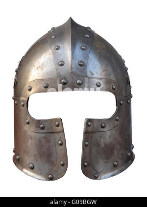 Isolation Of The Helmet Of A Medieval Suit Of Armour On A White Background - Stock Photo