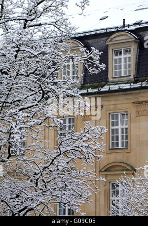 Detail Of A Grand Classical European House In The Winter Snow - Stock Photo