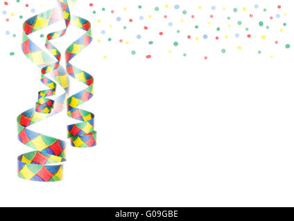 streamers and confetti as decoration for parties - Stock Photo