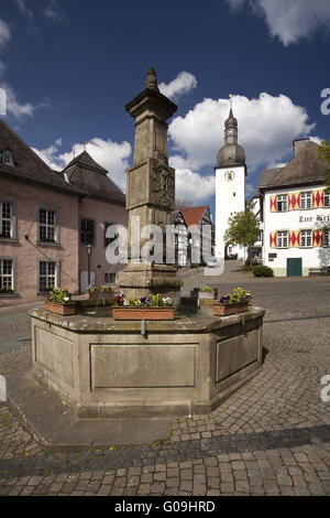 City view of the Old town in Arnsberg in Germany. - Stock Photo