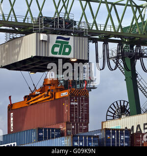 Port with container terminal, Dortmund, Germany. - Stock Photo