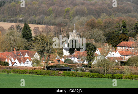 Buckinghamshire - Chiltern Hills - Little Missenden  - church tower - cottage rooftops - russet tiles - early spring - Stock Photo