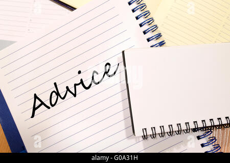 Advice text concept write on notebook - Stock Photo