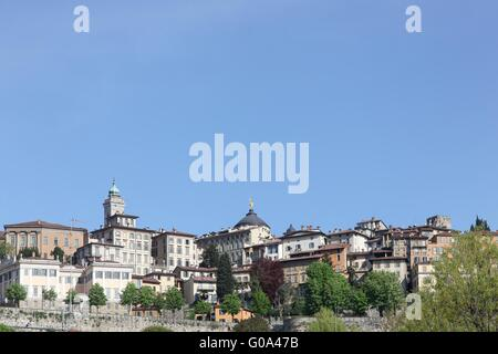 View of the upper city in Bergamo, Italy - Stock Photo