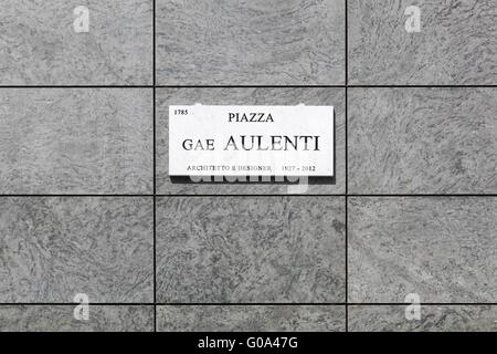 Piazza Gae Aulenti sign in Porta Nuova, a new business district in Milan, Italy - Stock Photo