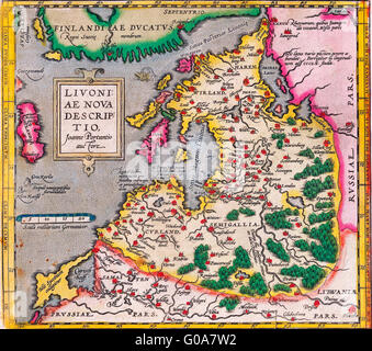 Map of Livonia in 1573. - Stock Photo