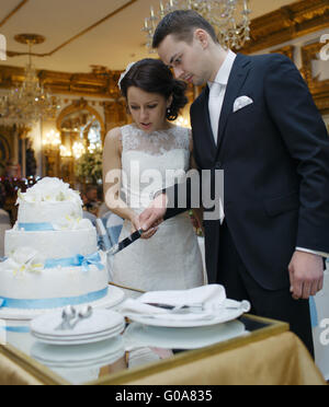 Bride and groom making a wish as they cut the cake - Stock Photo