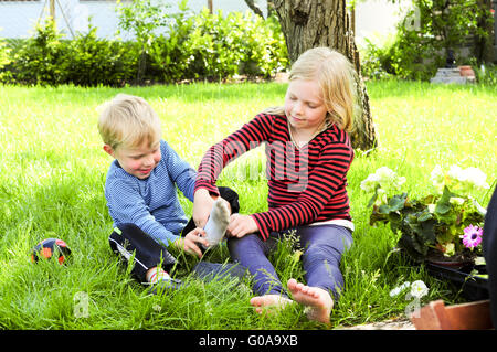putting on shoes - Stock Photo