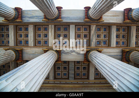 Ionic columns at The Academy of Athens, Greece - Stock Photo
