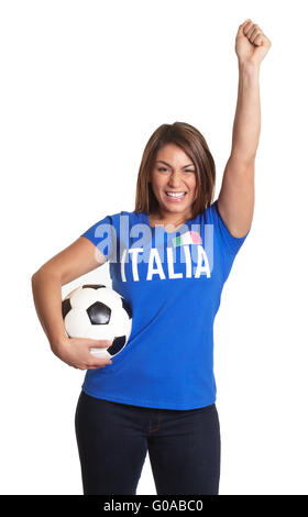 Cheering italian girl - Stock Photo