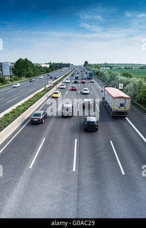 busy traffic on motorway - Stock Photo