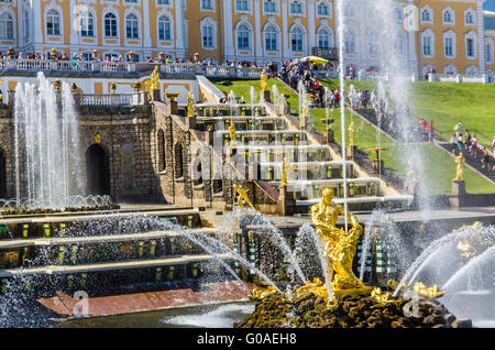Samson Fountain and Big Cascade in Peterhof, Russia - Stock Photo