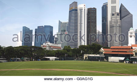 Singapore skyline with Cricket Club - Stock Photo