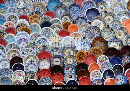 multicolor sovenir earthenware in tunisian market - Stock Photo