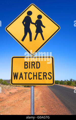 Bird Watchers signage in outback Australia. - Stock Photo