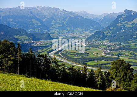 Rhine valley near Balzers, Liechtenstein - Stock Photo