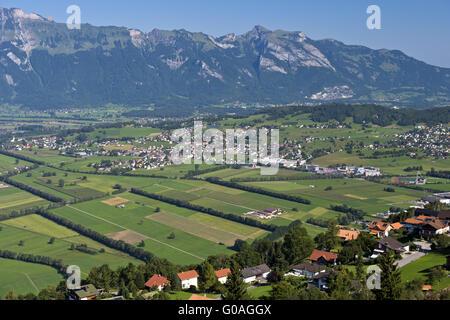 View from Planken across the Rhine valley,Liechte - Stock Photo