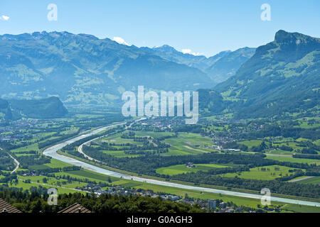 Rhine valley near Balzers,Liechtenstein - Stock Photo