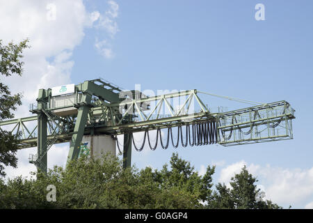 Gantry crane, container harbour Dortmund, Germany - Stock Photo