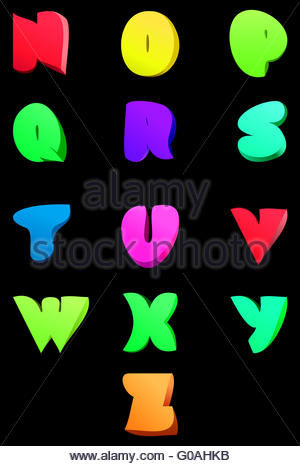 Vector abstract english alphabet. Comic style N-Z - Stock Photo
