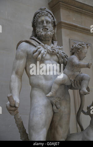 Hercules (Heracles) with his son Telephus, Roman statue (marble) copy of Greek original, 1st-2nd century AD (original - Stock Photo