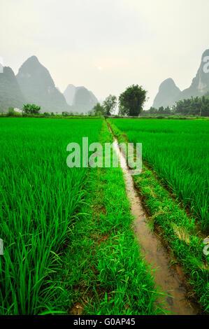 Li river mountain landscape in Yangshuo Guilin - Stock Photo