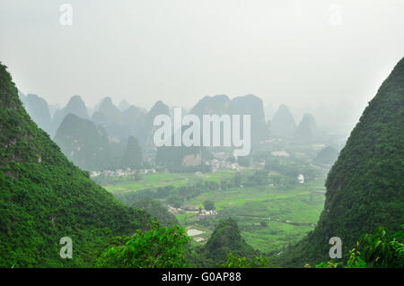 Guilin Li river Karst mountain landscape in Yangshuo - Stock Photo