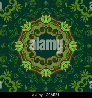 Abstract green floral background with round vector pattern - Stock Photo