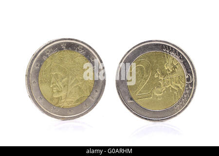 2 Euro coins isolated - Stock Photo