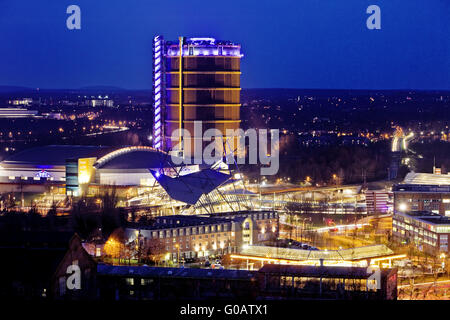 New center with Gasometer, Oberhausen, Germany - Stock Photo