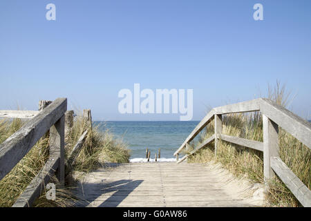 Way to the beach on the baltic sea in Heiligenhafe - Stock Photo