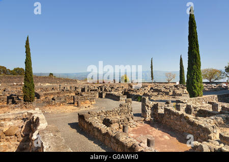 Ruins of the synagogue of Capernaum on Kinneret, Israel - Stock Photo