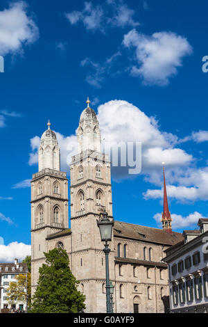 The Grossmunster Church  in Zurich, Switzerland, with clear sky as background - Stock Photo